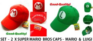 Super Mario Bros Anime Cosplay Luigi L Cap and Mario M Cap